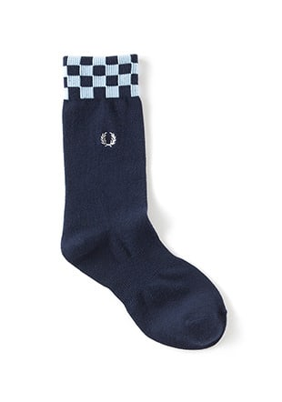 Checkerboard Rib Middle Socks