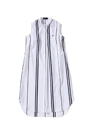 Stripe Sleeveless Shirt Dress