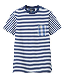Stripe T-Shirt With Gingham Pocket