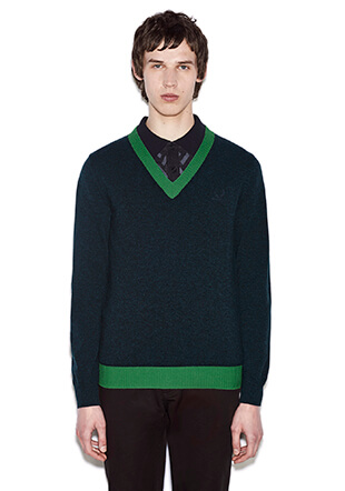 Raf Simons Colour Block V-Neck Sweater