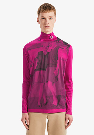 Raf Simons L/S Printed Roll Neck Top