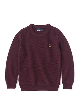 Kids Textured Crew Neck Sweater