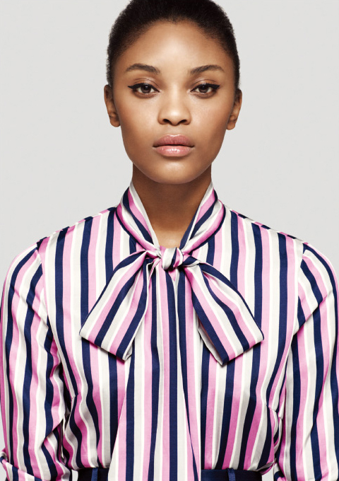 L/S Stripe Shirt With Bow