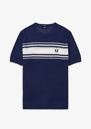 Reissues Striped Texture Knit Crew Neck