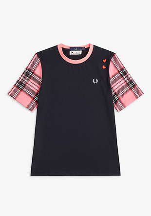 Amy Winehouse Tartan Sleeve T-Shirt
